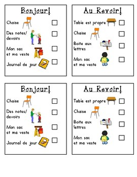 Beginning and End of the Day Checklists for Students (French)
