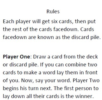 Beginning and Ending Card Game For Students