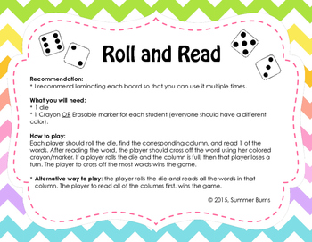 """Beginning and Ending Consonant Blends Game """"Roll and Read"""""""
