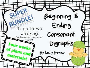 Beginning and Ending Consonant Digraphs SUPER BUNDLE sh ch th wh ph ck ng