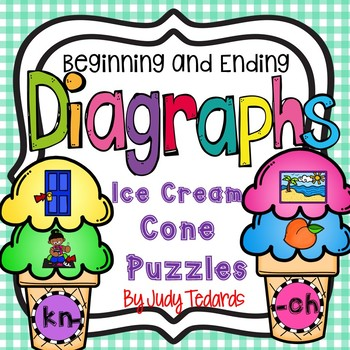 Beginning and Ending Diagraphs (Ice Cream Cone Puzzles)