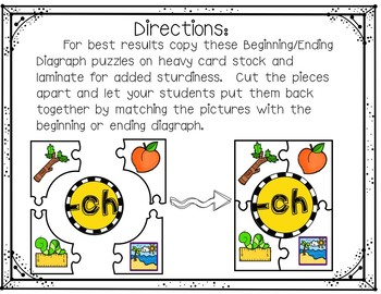 Beginning and Ending Diagraphs Puzzles