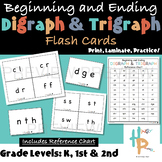 Beginning and Ending Digraph & Trigraph Flash Cards with R