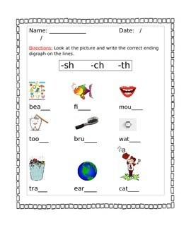 Beginning and Ending Digraph Worksheets with pictures  ch/sh/th/wh