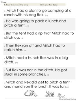 Digraph ch and tch Decodable Stories Activities and Worksheets (Dyslexia RTI)