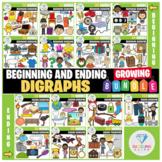 Beginning and Ending Digraphs Clip Art - GROWING BUNDLE!