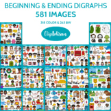 Beginning and Ending Digraphs Clip Art Bundle
