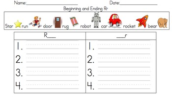 Beginning and Ending Sound Word Sort (Rr)