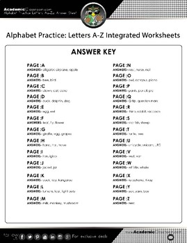 Alphabet Practice: Letters A-Z Integrated Worksheets
