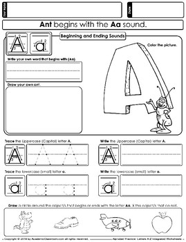 Alphabet Practice: Letters A-Z Integrated Worksheets, Handwriting Practice
