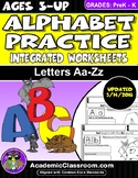 Alphabet Practice: Letters A-Z Integrated Worksheets, Hand