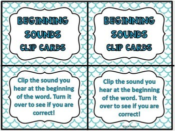 Beginning and Ending Sounds - Clip Cards Literacy Center