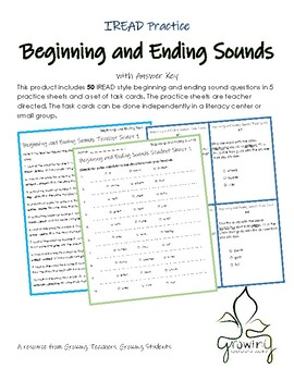 Beginning and Ending Sounds IREAD Practice 3rd Grade
