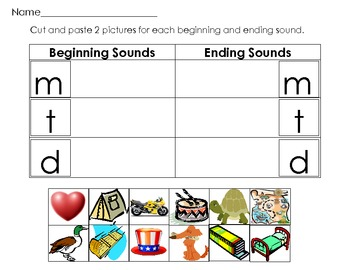 Beginning and Ending Sounds Picture and Letter Match Literacy Center