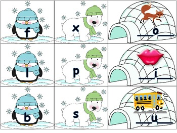 Beginning and Ending Sounds Polar Bear Winter Themed Daily 5 Word Work Activity