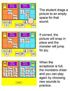Beginning Sounds and Ending Sounds Sorting Game - Interactive Word Work Game