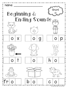 Beginning and Ending Sounds Worksheet Pack by Teachers ...