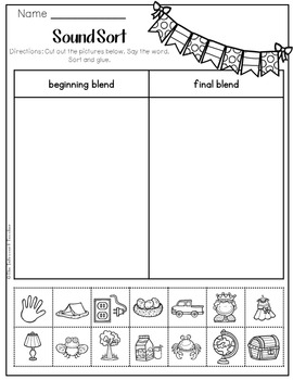 Beginning and Final Blends Picture Sort