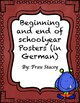 Beginning and end of schoolyear Posters in German