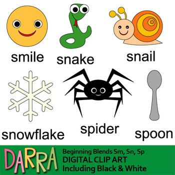 Beginning blends words clip art (word families, phonics clipart)