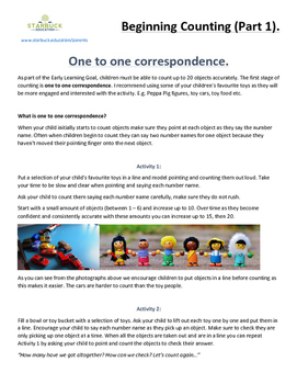 Beginning counting (one to one correspondence)
