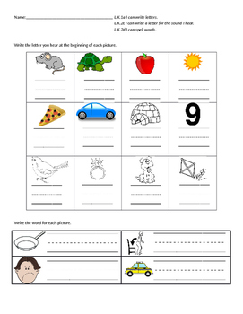 Beginning letter and CVC word spelling assessment