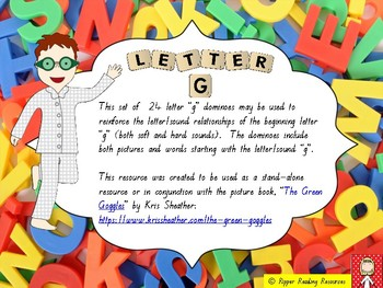 "Beginning letter ""g"" dominoes - picture and word matching"