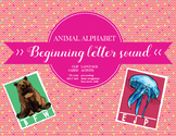 Beginning sound cards; Clip cards, Animal alphabet, Letter