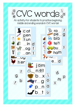 CVC words! An activity to reinforce start, middle and end sounds in CVC words