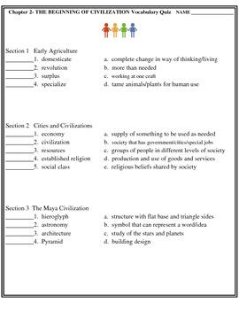 Beginning of Civilization Matching Quiz