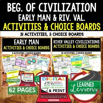 Beginning of Civilization Choice Board Activities Paper & Google