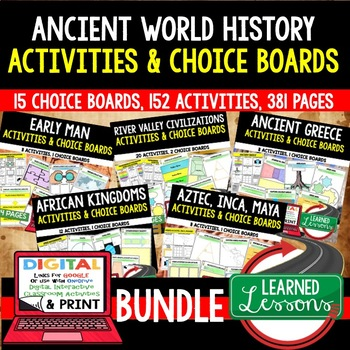 Early Man, River Valley Civilizations Activities, Choice Board, Google BUNDLE