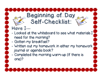 Beginning of Day Self- Checklist
