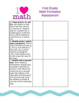 Beginning of First Grade Formative Assessment