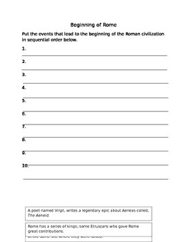 Beginning of Rome: Sequence Activity and Worksheet