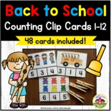 Back to School Counting Clip Cards 1-12