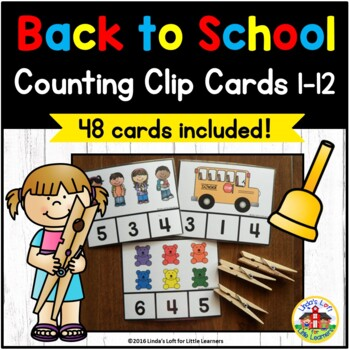 Beginning of School Counting Clip Cards 1-10