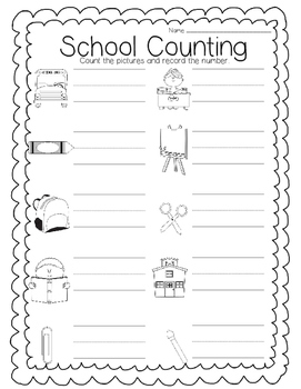 Beginning of School Counting Match and Record
