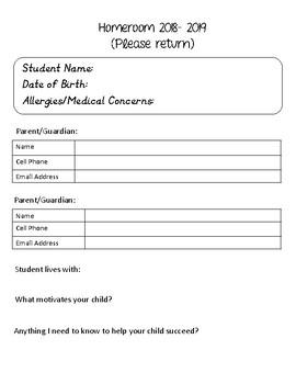 Beginning of School Info Sheet