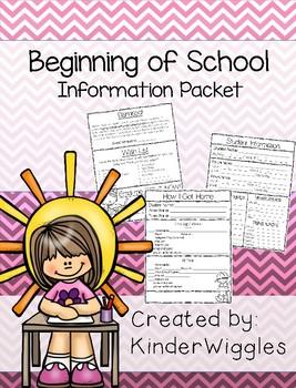 Beginning of School Information Packet