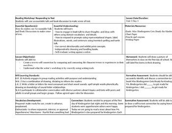 Beginning of School Lesson Plans- Kindergarten/ First