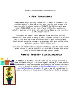 Beginning of School Letter