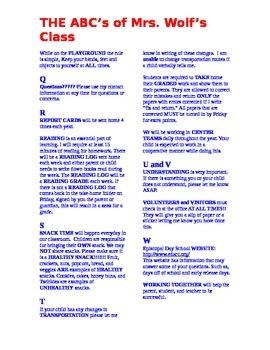 Beginning of School Letter To Parents