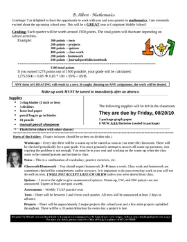 Beginning of School: Math Class Information Sheet