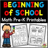 Beginning of School Math Preschool Printables