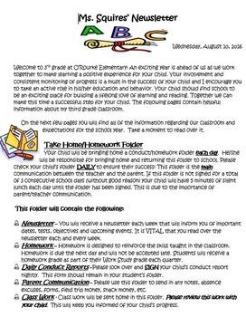 Beginning of School Parent Letter