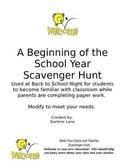 Beginning of School Scavenger Hunt