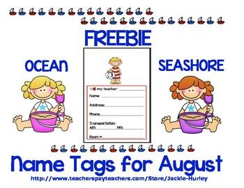 Beginning of School Seashore Name Tags  Beginning of School  Seashore