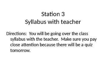 Beginning of School Station Activities