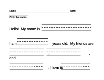 Beginning of School Writing Template